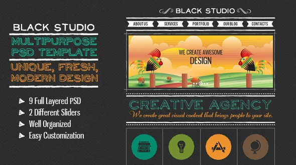 The Multi Purpose Black Studio PSD - Creative Photoshop