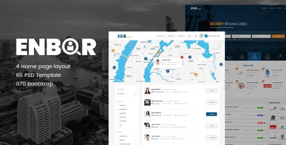 Enbor - Job Board PSD Template - Corporate Photoshop