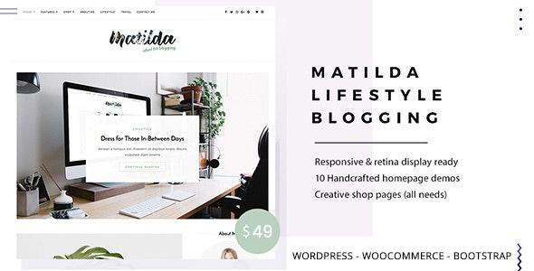 Matilda | Lifestyle Minimal WordPress Blog Theme - Personal Blog / Magazine