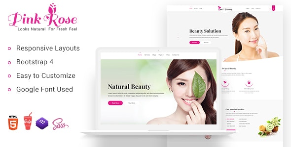 Pink Rose Spa Beauty Salon Website Templates - Health & Beauty Retail