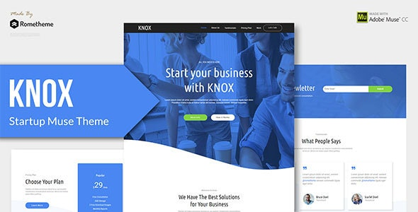 KNOX - Startup, Agency, Apps Muse Theme - Landing Muse Templates