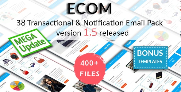 ECOM - Transactional and Notification Email Templates Mega Bundle - Email Templates Marketing