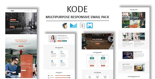 Kode - Multipurpose Responsive Email Template With Stamp Ready Builder Access - Newsletters Email Templates