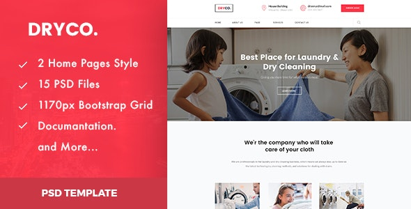 Dryco - Laundry, Dry Cleaning Services PSD Template - Business Corporate
