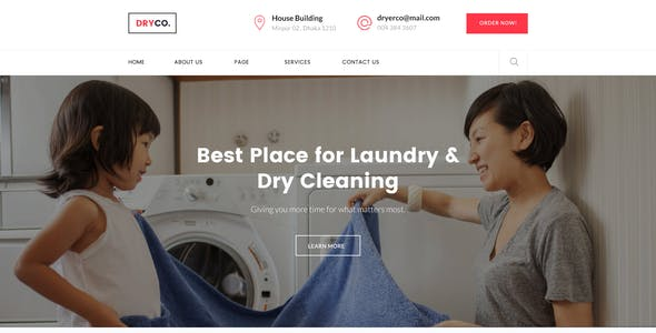 Dryco - Laundry, Dry Cleaning Services PSD Template