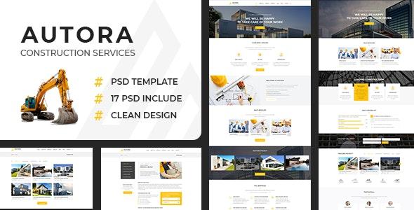 Autora - Construction Business PSD Template - Corporate Photoshop