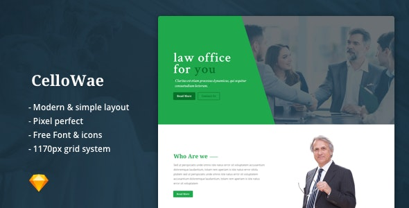 Cellowae - Lawyer & Attorney Business Sketch Template - Sketch UI Templates
