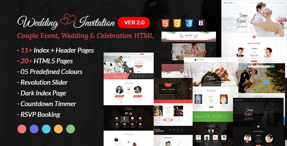 Wedding Invitation - Couple Event and Celebration Wedding HTML Template - Wedding Site Templates