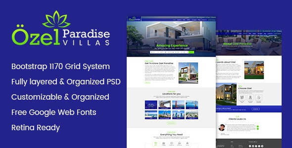 Ozel Paradise Villas PSD Template - Photoshop UI Templates