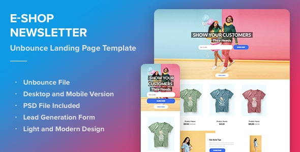 E-shop Newsletter - Responsive Unbounce Landing Page Template - Unbounce Landing Pages Marketing