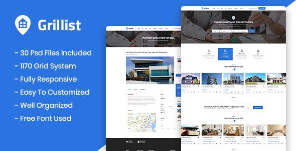 Grillist - Real Estate Listing PSD Template - Photoshop UI Templates
