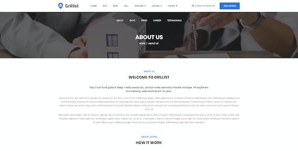 Grillist - Real Estate Listing PSD Template