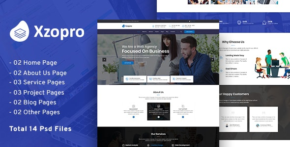 Xzopro - Business & Consulting PSD Template. - Business Corporate