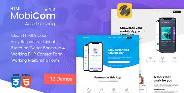 MobiCom - Mobile App Landing Pages Pack - Landing Pages Marketing