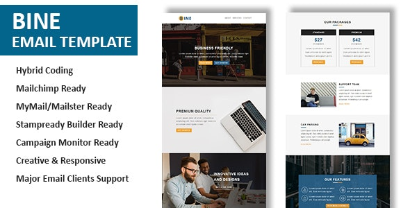 Bine - Multipurpose Responsive Email Template with Online StampReady Builder Access - Newsletters Email Templates