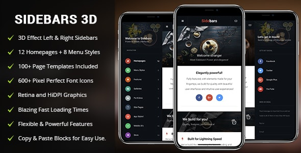 SideBars 3D Mobile - Mobile Site Templates