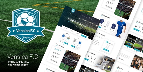 Vensica FC - Football Club Creative PSD Template by themeton