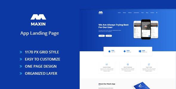 Maxin - App Landing Page PSD Template - Photoshop UI Templates