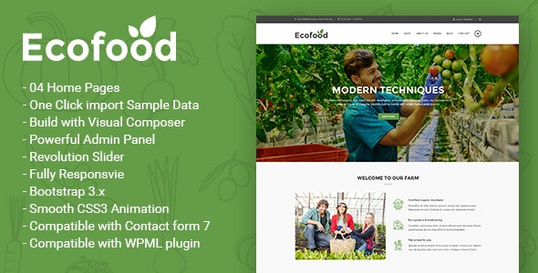 Ecofood - Responsive Organic Store & Farm WordPress Theme - Food Retail