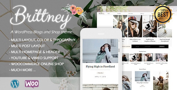 Brittney - A Responsive WordPress Blog and Shop Theme - Personal Blog / Magazine
