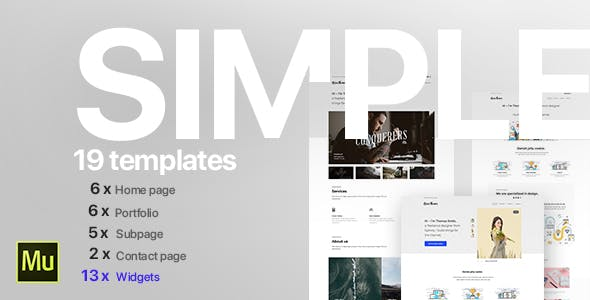 Download Simple - Creative Portfolio Muse CC Templates and Widgets