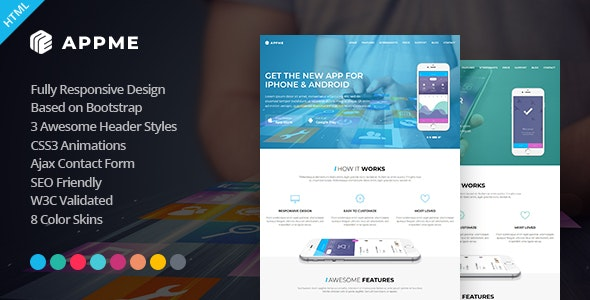AppMe - App Landing Page Template - Software Technology