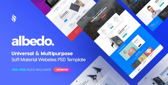Albedo - Universal and Multipurpose Soft Material PSD Template - Creative Photoshop