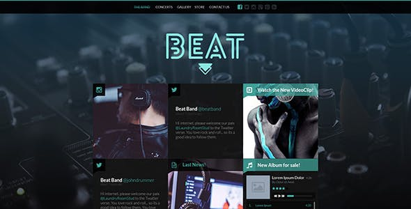 Beat One Page Music Band Joomla Template