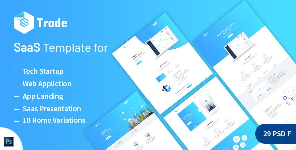 SaaS Trade - Startups SaaS PSD Template - Software Technology