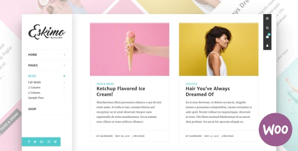 Eskimo - Minimal Personal WordPress Blog & Shop Theme