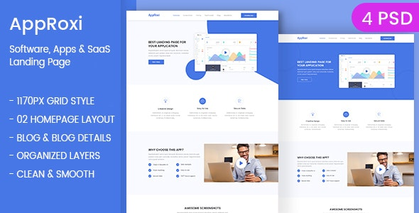 AppRoxi - App, Software & SAAS Landing Page PSD Template - Software Technology