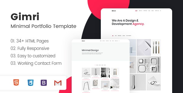 Gimri - Minimal Portfolio Template - Portfolio Creative