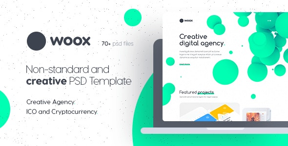 Woox - Non-Standard and Creative PSD Template for Digital Agency and ICO and Cryptocurrency Market - Creative Photoshop