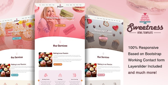 Sweetness - One Page HTML Template - Food Retail