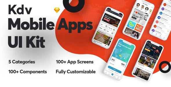 Kdv Mobile Apps Sketch UI Kit for Startups - Business Corporate