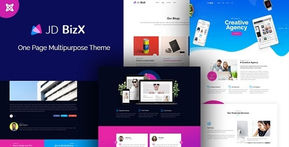JD BizX - Creative One Page Multipurpose Joomla 3.9 Template - Joomla CMS Themes