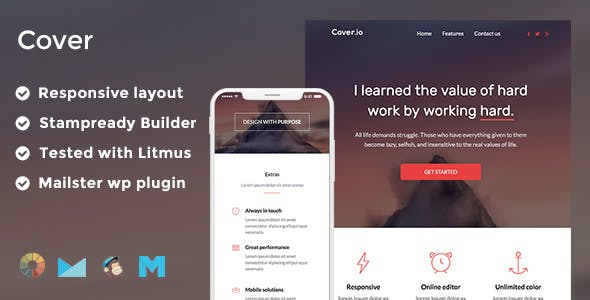 Cover Responsive Email Template + Stampready Builder + Mailchimp + Mailster