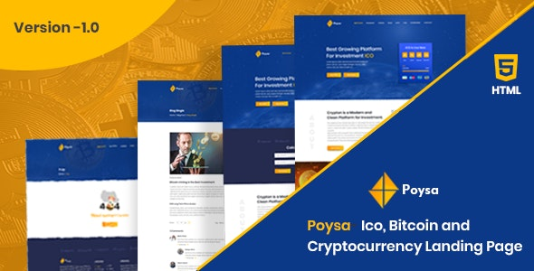 Poysa - Bitcoin and Crypto Currency Bootstrap Template - Marketing Corporate