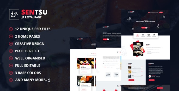 Sentsu | Creative Japanese Restaurant PSD Template - Food Retail