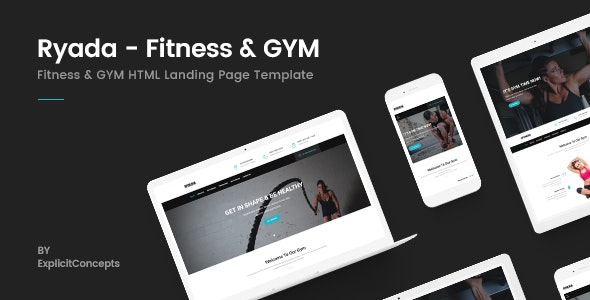 Ryada - Fitness & GYM HTML Landing Page Template - Marketing Corporate