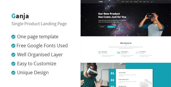Ganja - Single Product Landing Page - Photoshop UI Templates