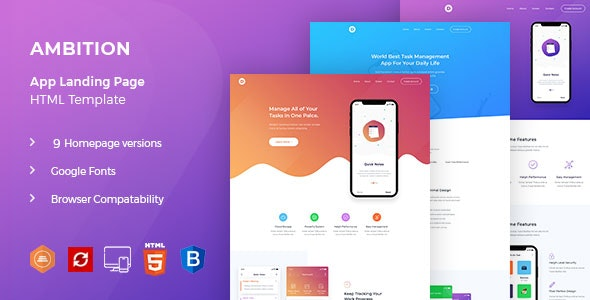 Ambition - App HTML Template - Software Technology