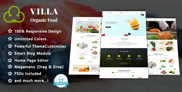 Villa - Organic Food Responsive PrestaShop 1.7 Theme - Health & Beauty PrestaShop