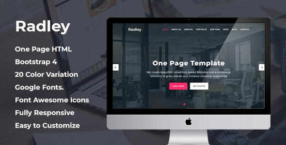 Radley - One Page HTML Template - Creative Site Templates