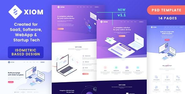 XIOM – SaaS, Software, WebApp and Startup Tech PSD Template - Software Technology