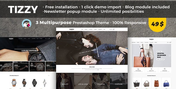 Tizzy - Multipurpose Responsive Prestashop 1.7 Theme | Fashion | Watch | Bag - Fashion PrestaShop