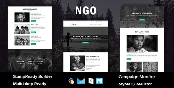 NGO - Charity Multipurpose Responsive Email Template With Online Stampready Builder Access