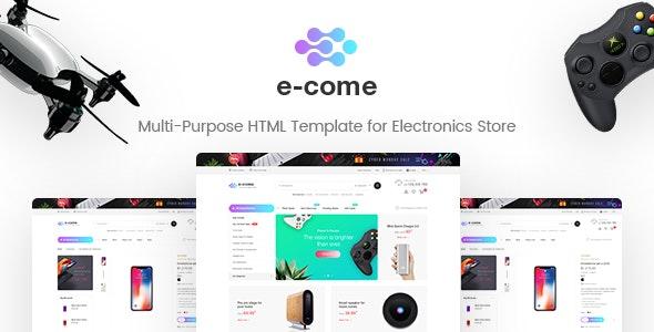 E-come | Multi-Purpose HTML Template for Electronics Store - Retail Site Templates