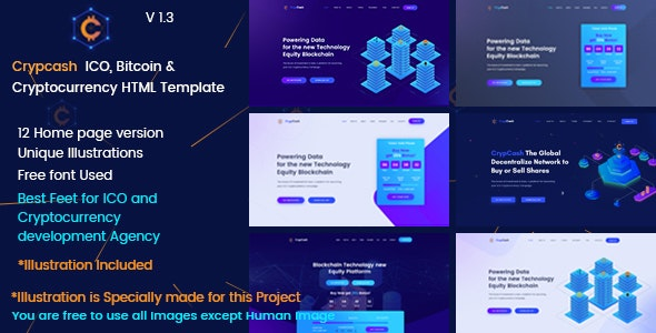 Crypcash - ICO, Bitcoin and Cryptocurrency Landing  page - Technology Site Templates