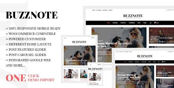 Buzznote - A Responsive WordPress Blog Theme - Personal Blog / Magazine